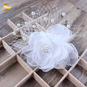White Flower Hair Comb Headbands Jewelry - Crystal Headpiece