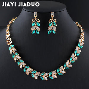 Wedding Jewellery Sets | Charming Accessories With Green Glass Crystal Necklace Earrings - Bring The Jewels