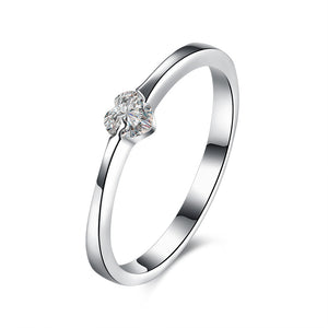 925 Sterling Silver Heart-Shaped Women's Ring - Inlaid CZ Heart Silver Ring - Bring The Jewels