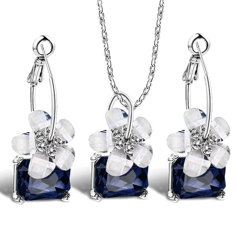 Romantic Bride Jewelry Sets | Blue Crystal With White Flower Necklace And Earrings - Bring The Jewels