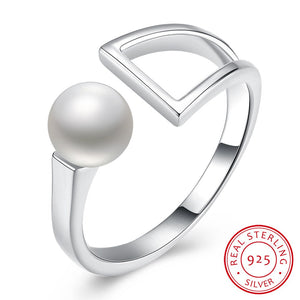 925 Sterling Silver and Pearl Ring | Pearl and Silver Geometric Shape Women's Ring