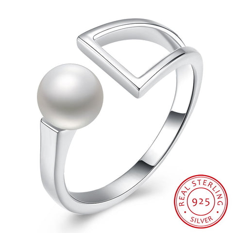 925 Sterling Silver and Pearl Ring | Pearl and Silver Geometric Shape Women's Ring - Bring The Jewels