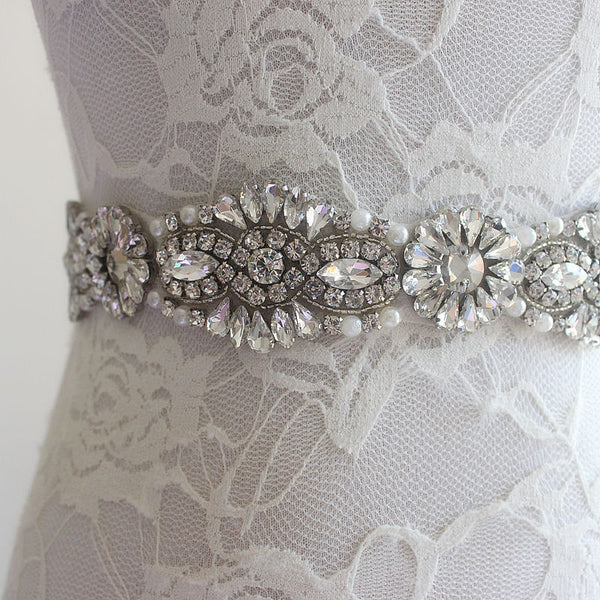 Wedding Sash | Beaded Pearl and Rhinestone Sash - Bring The Jewels