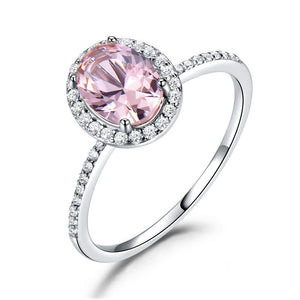 925 Sterling Silver Women's Ring | CLASSIC Oval Pink Faux Sapphire Ring