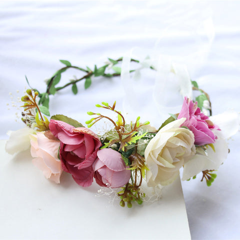Wedding Flower Crown | Bridesmaid Floral Garlands Handmade Headband - Bring The Jewels