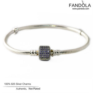 Signature Clasp Bracelets 925 Sterling Silver Purple CZ Charm Bracelet - Bring The Jewels