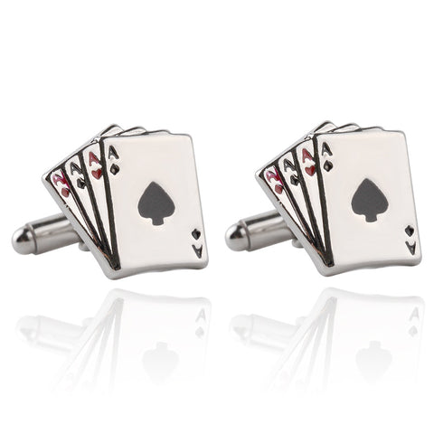 Poker Cufflinks For Men - Silver Color Playing Card High Quality Cuff Links Luxury Men Jewelry