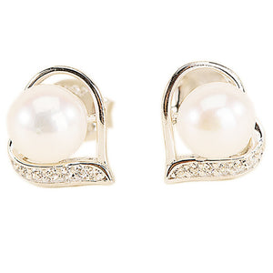 925 Sterling Silver and Pearl Earrings | Elegant Round Pearl and Silver Earrings For Women