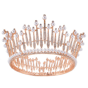 Wedding Tiara - Crystal and Pearl Tiara Headband - Bring The Jewels
