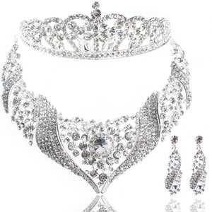 Bride 3Pc Jewelry Set - Bridal Necklace Earrings and Tiara Set - Bring The Jewels