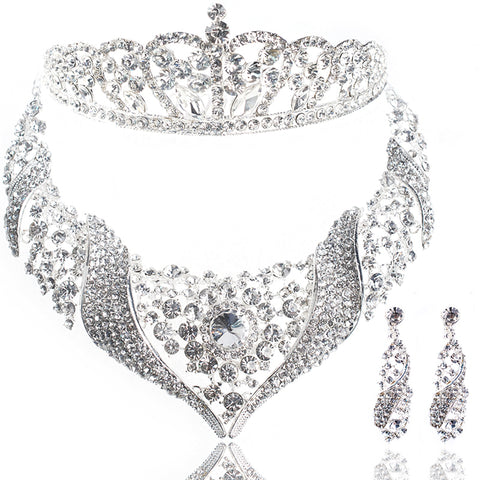 Bride 3Pc Jewelry Set - Bridal Necklace Earrings and Tiara Set
