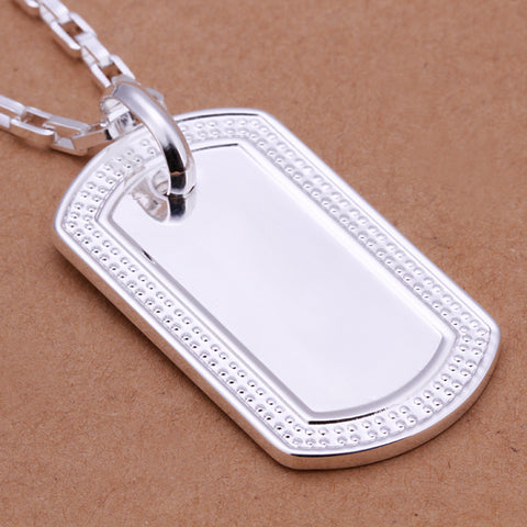 Men's Sterling Silver Necklace - 925 Sterling Silver ID Necklace For Men