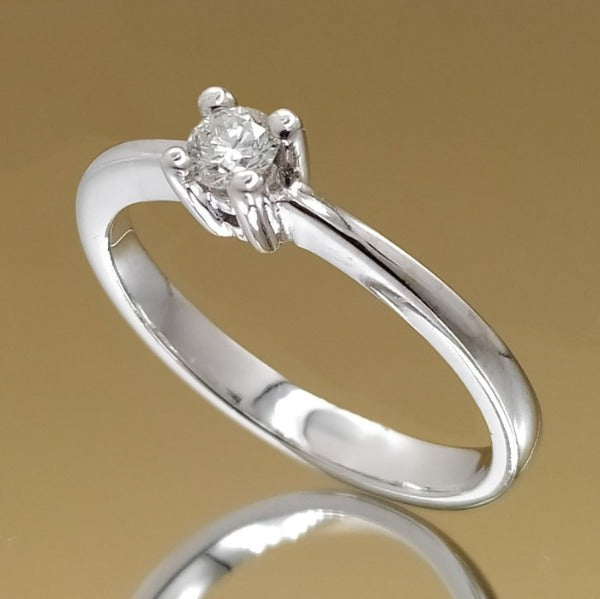 Anillo solitario diamante talla brillante 0,13ct