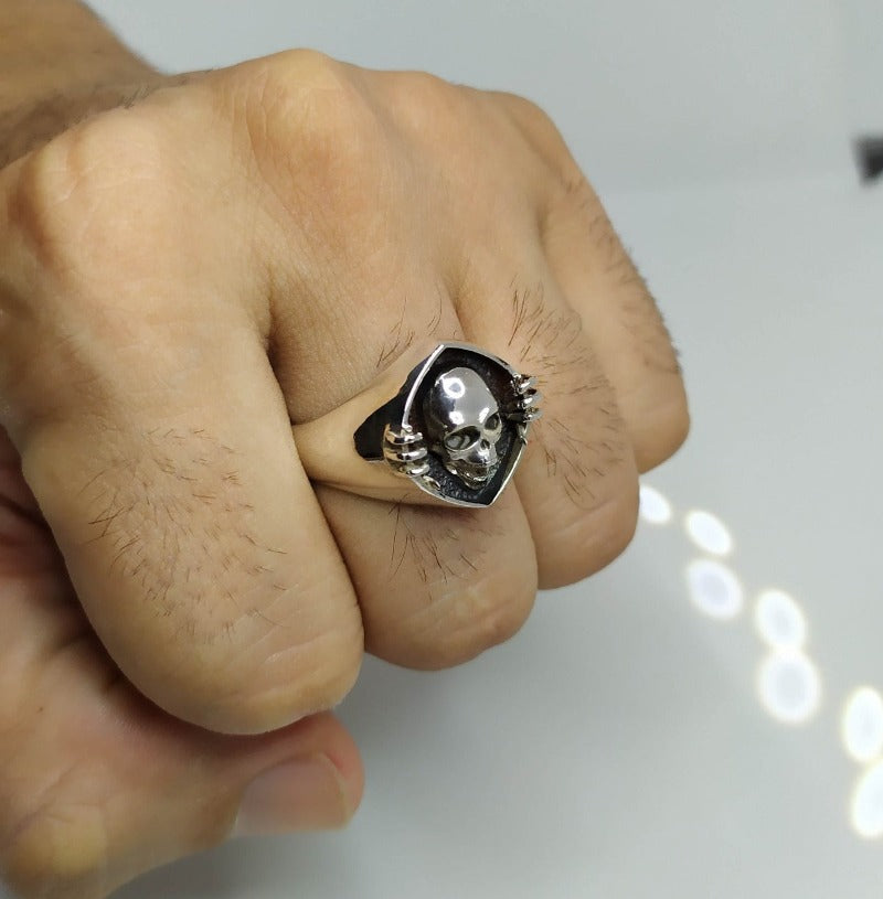 anillo calavera skull and bones ring silver