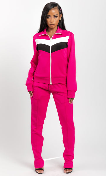 FRONT STRIPE JOGGING SET (PINK)