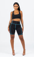 BLUE SCUBA STICHED BIKER SHORTS