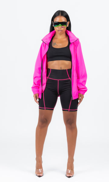 PINK SCUBA STICHED BIKER SHORTS