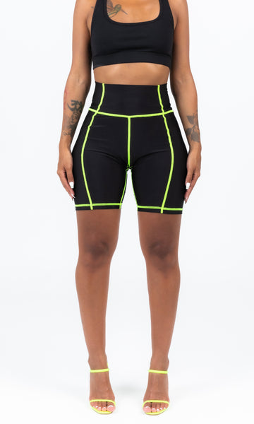 GREEN SCUBA STICHED BIKER SHORTS