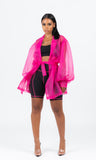 NEON PINK SO SHEER BLAZER