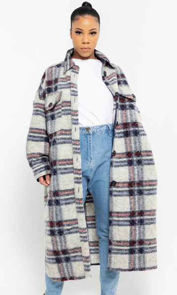 BOYFRIEND PLAID JACKET (GRY/RED)