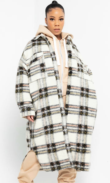 BOYFRIEND PLAID JACKET (CREAM)