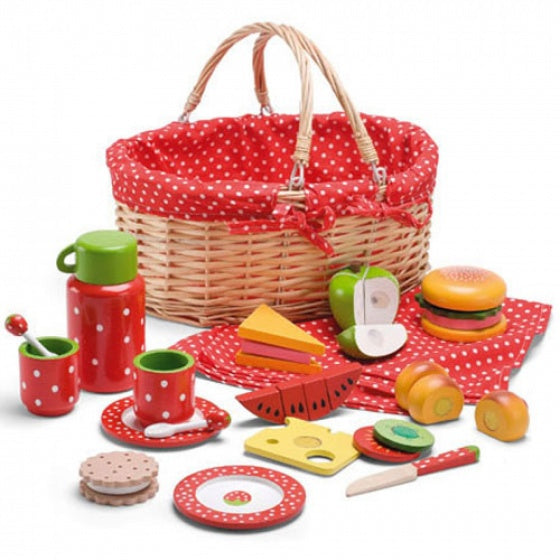 Mamamemo Picknickset hout 28 x 14 x 22 cm 19-delig
