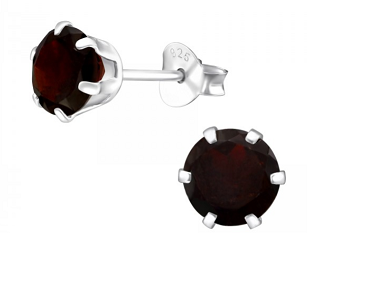 Round 6mm Garnet Claw Set Sterling Silver Studs