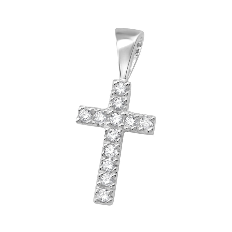 Crystal Cross Sterling Silver Pendant