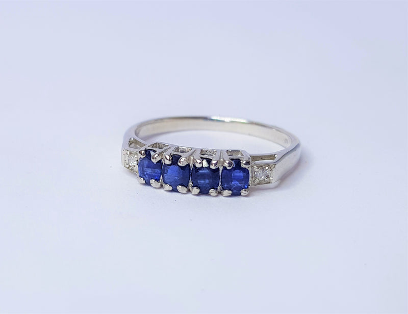 Oval Sapphires and CZ Sterling Silver Ring