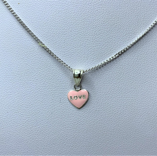 Pink 'Love' Sterling Silver Pendant