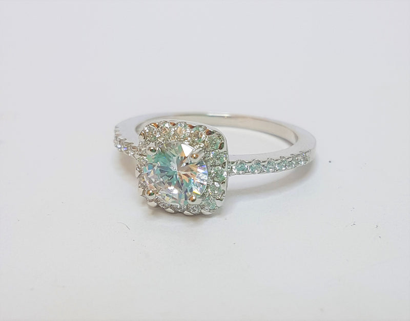 Brilliant Cut CZ with CZ Halo and Shoulders Sterling Silver Ring