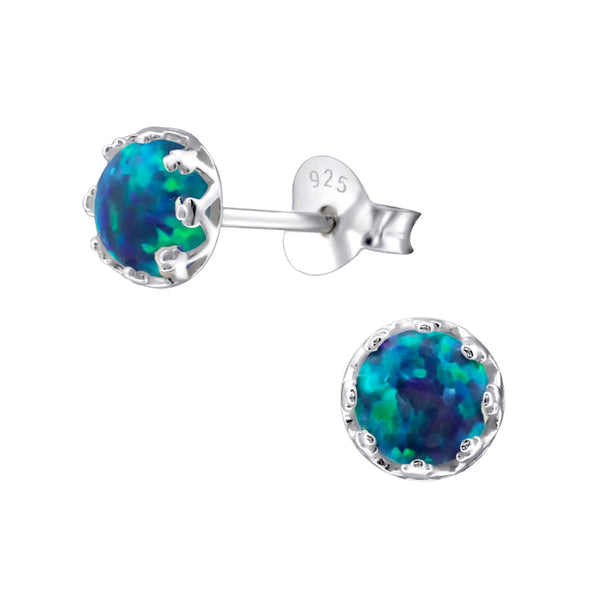 Peacock Created Opal Sterling Silver Studs