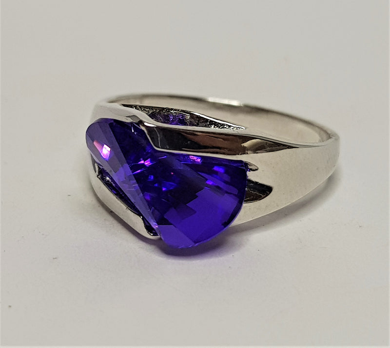 Axe Cut Purple CZ Sterling Silver Ring