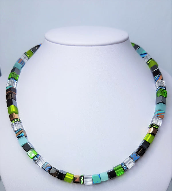 Green Geo Cubes Stainless Steel Swarovski Crystals Marbled Malachite Tiger  Eye Haematite Necklace