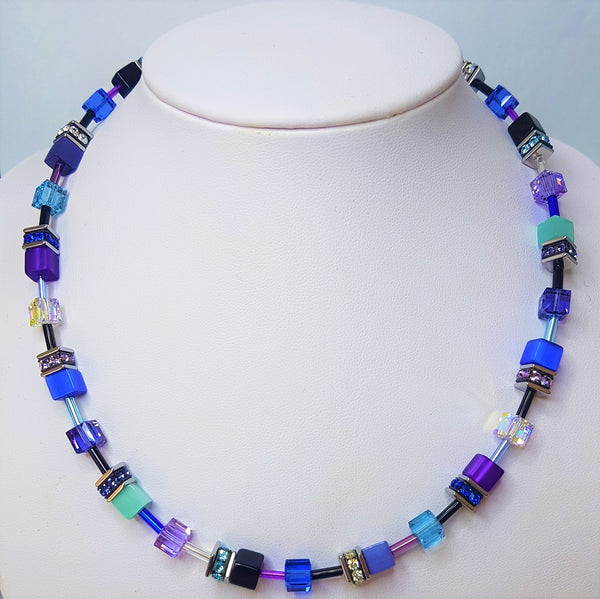 Blue/Purple Geo-Cube Necklace