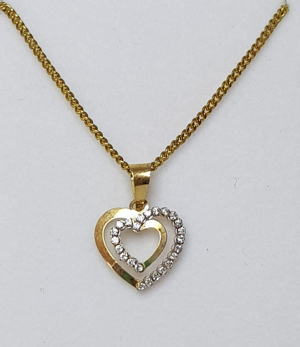 9ct Yellow Gold Heart CZ Pendant