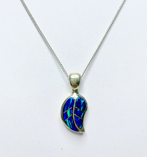 Sterling Silver Created Opal Leaf Pendant