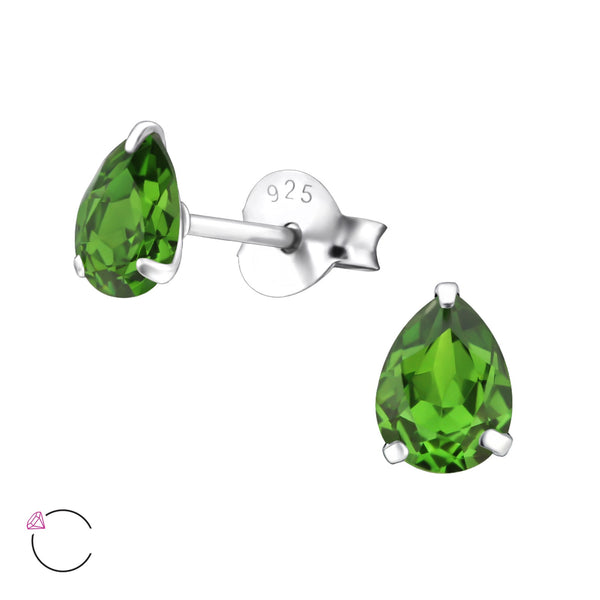 Fern Green Crystal Pear Sterling Silver Studs