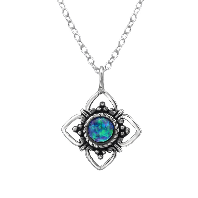 Peacock Cabochon Opal (Syn) Flower Sterling Silver Pendant and Sterling Silver Chain