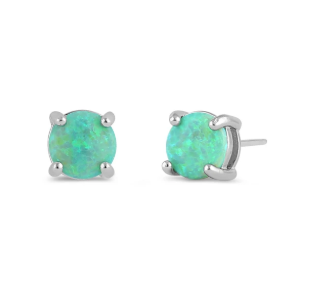 Opal Green (Created) Sterling Silver Studs