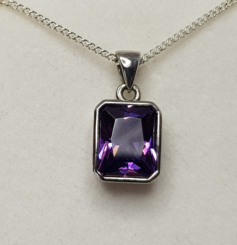 Rectangle Amethyst CZ Sterling Silver Pendant