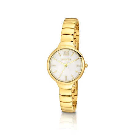 Vigo by Isadora White MOP Dial with Silver Dust Accents Goldtone Bracelet Watch