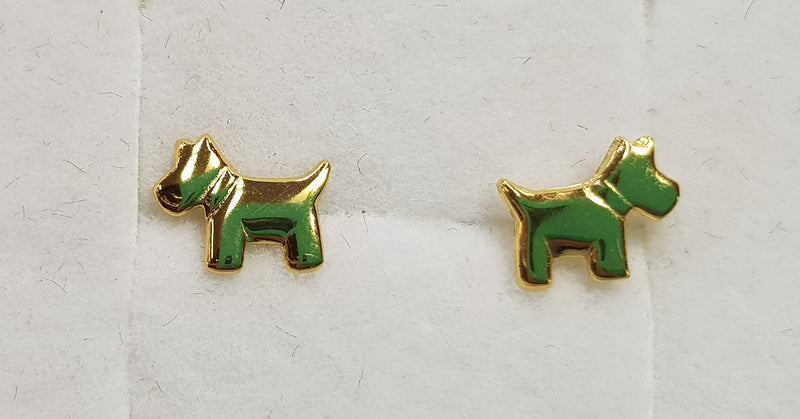 Dog Yellow Gold Plate Studs