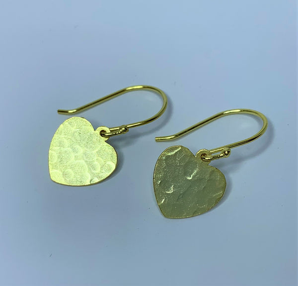 Yellow Gold Plate Pressed Heart Sterling Silver Hooks
