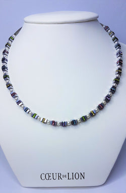 Haematite with Titanium Oxide and Swarovski Crystal with Pearl Crystal Necklace