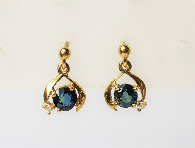 9ct Yellow Gold Sapphire and Diamond Horseshoe Drop Studs
