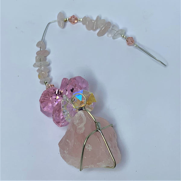 Rose Quartz Natural Crystal Handmade Suncatcher