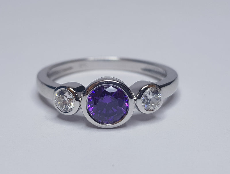 3 Stone Purple & CZ Sterling Silver Ring