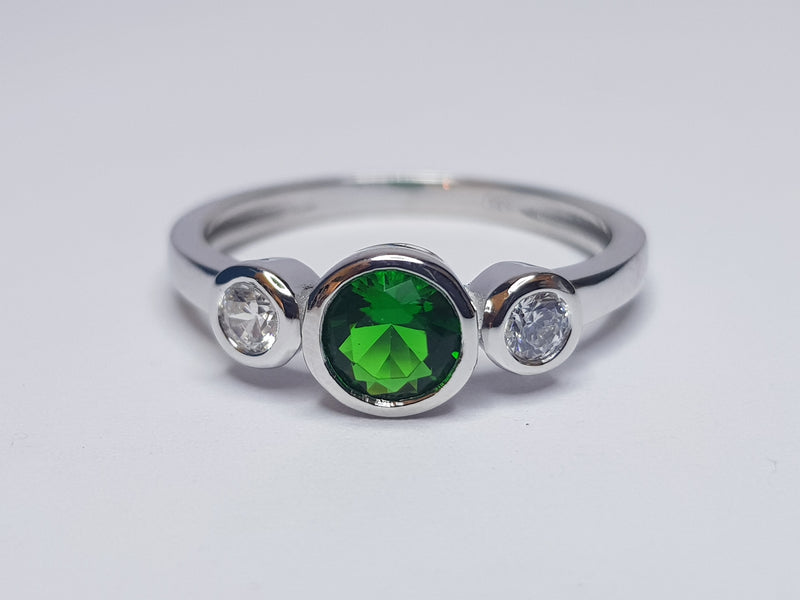 3 Stone Green & CZ Sterling Silver Ring