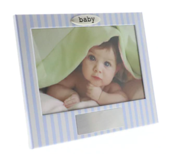 Blue White Stripe Engravable Boy Photo Frame